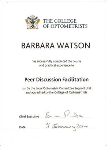 Barbara Watson College Of Optometrists Certificate