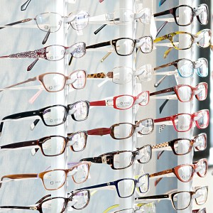 Contemporary spectacles displayed in an opticians window